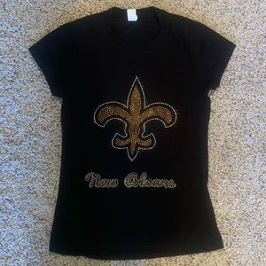New Orleans Saints Embellished Shirt Girls L = XS